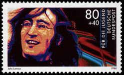 John Lennon på ett tyskt frimärke från 1988.