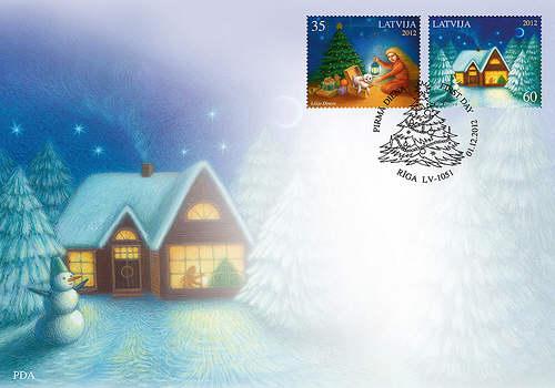 Lettland julfrimärke FDC