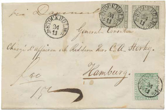 Sälsynt skilling banco brev till Hamburg
