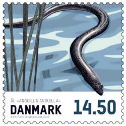 Frimärken Danmark Matfisk Ål