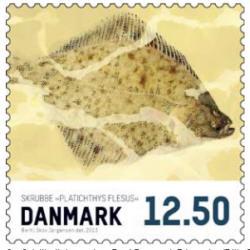 Frimärken Danmark Matfisk Skrubbskädda