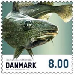 Frimärken Danmark Matfisk Torsk