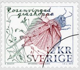 Frimärke Rosenvingad gräshoppa